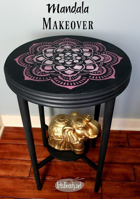 Boho Chic Mandala Stenciled Table Makeover Artwork Diy Furniture Gray Pink And White Eclectic Decor