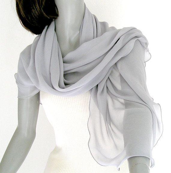 e4d9ae62f9c Silver Gray Large Shawl Wrap - Mulberry Silk Chiffon 37