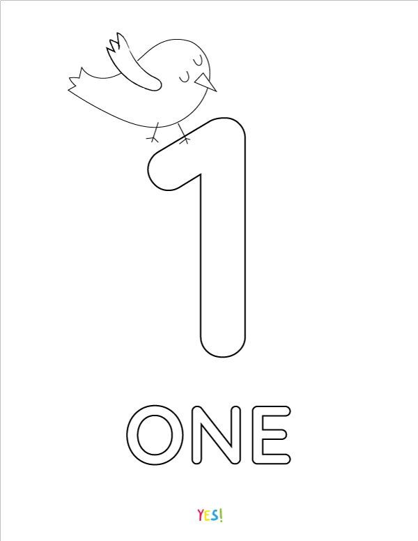 Free Coloring Of Numeral One 1 At Yescoloring Coloring Pages Printable Coloring Pages Bear Coloring Pages