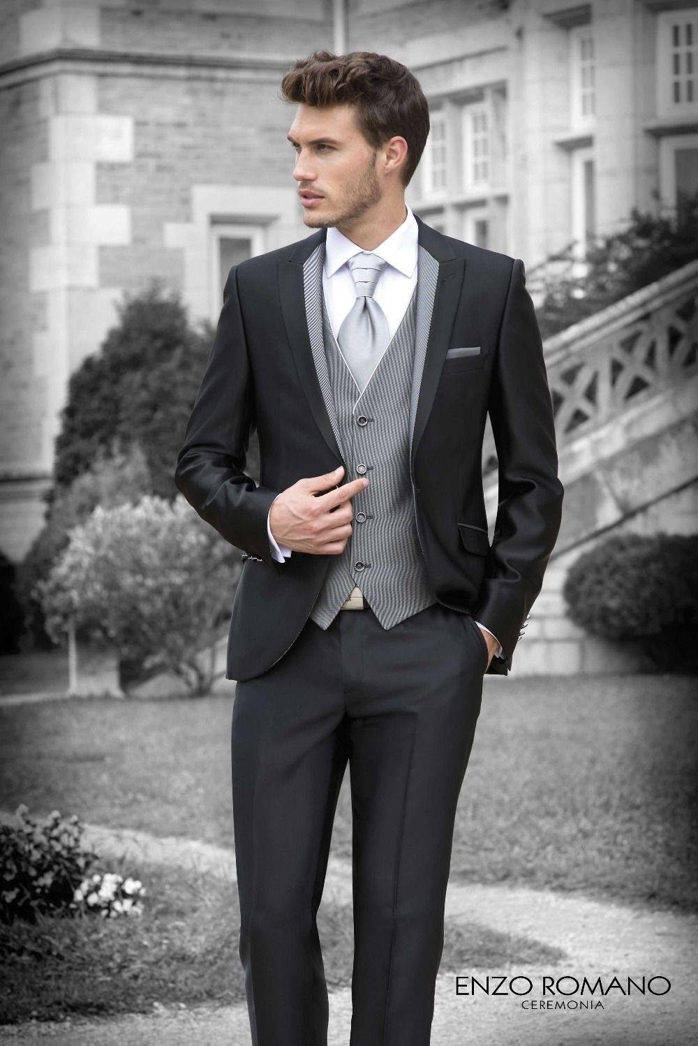 Click to Buy << 2016 high quality black man suit of western style ...