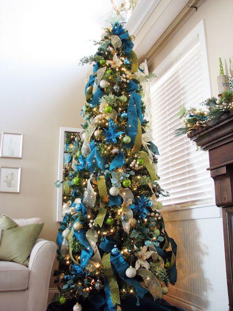 62770742e Pretty Christmas Trees, Silver Christmas Tree, Ribbon On Christmas Tree, Christmas  Time