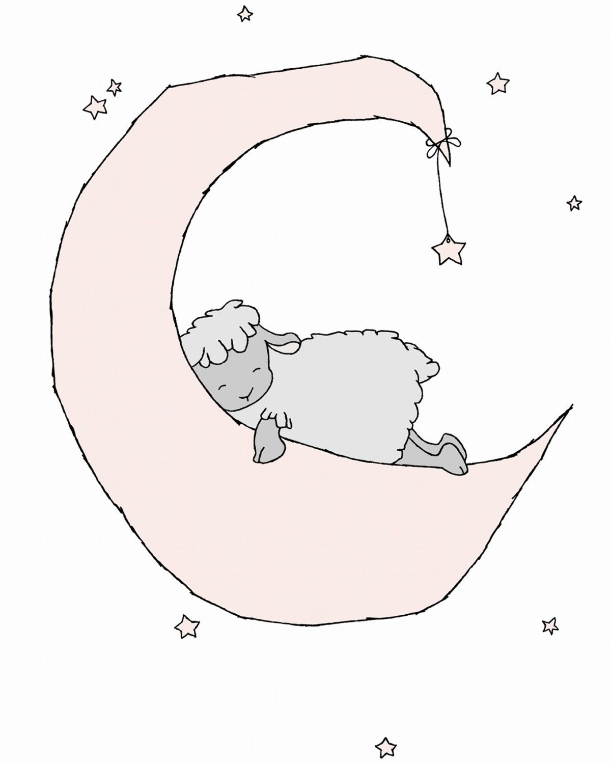 Baby Lamb Drawing Lamb Nursery Art Lamb Moon And Stars Dream Pink And