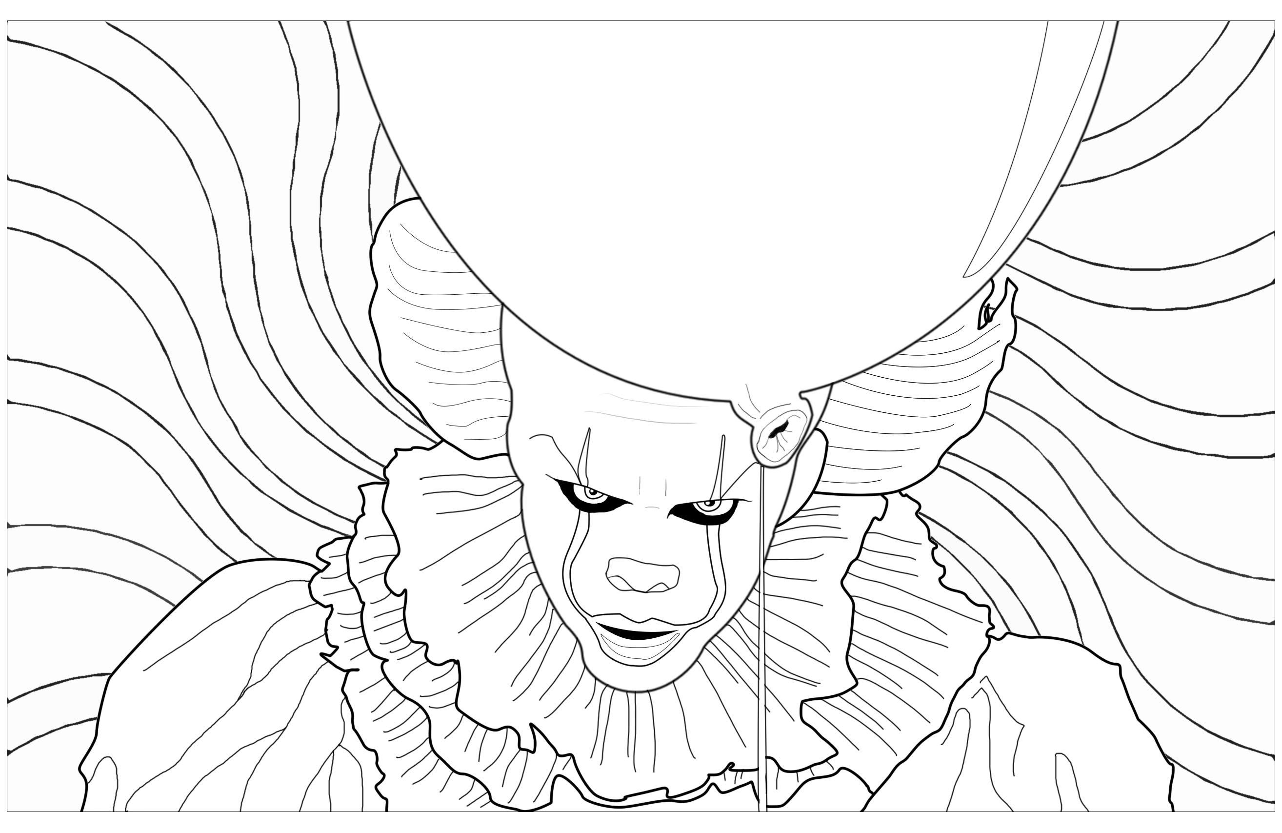 Pennywise The Maleficent Clown From The 2017 Movie It From Stephen King Nov Halloween Coloring Pages Printable Halloween Coloring Pictures Halloween Coloring