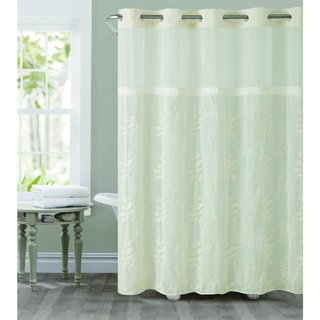 Hookless Palm Leaves Shower Curtain With Snap On Liner Green