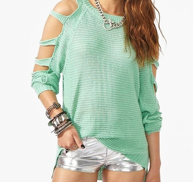 Mint shirt with shredded sleeves