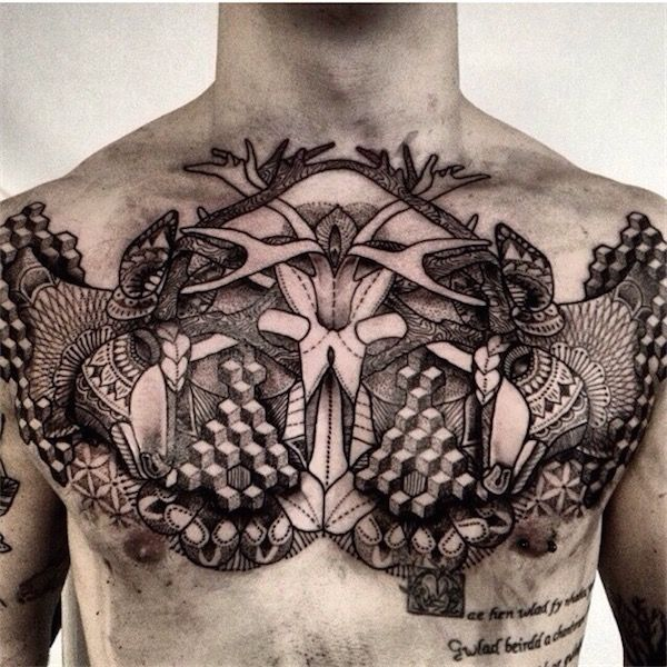 61 Jaw Dropping Chest Tattoos Meaning: You Won't Notice It At First, But This Is A