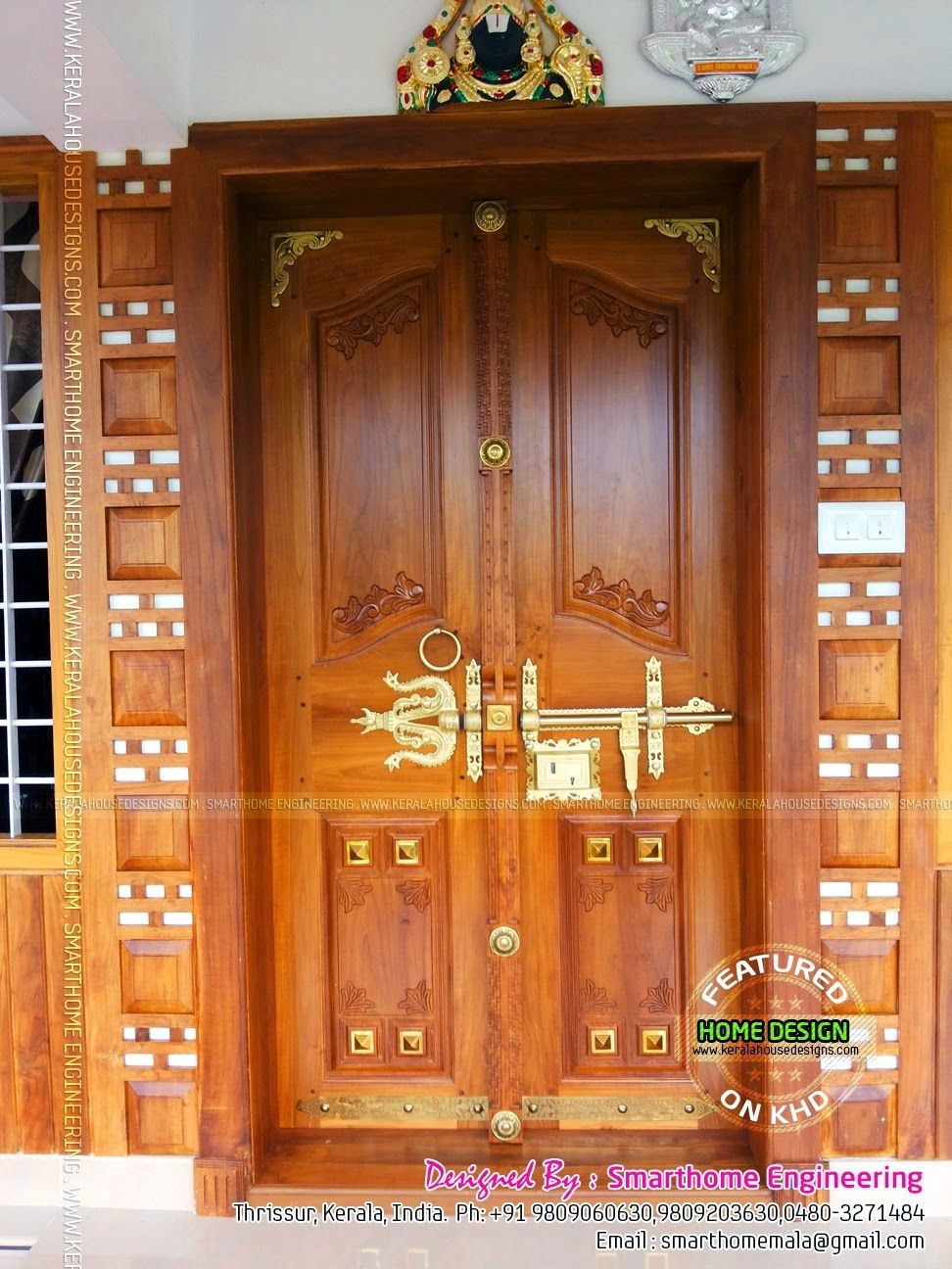 Kerala wooden front double door designs double doors may for Door models for house