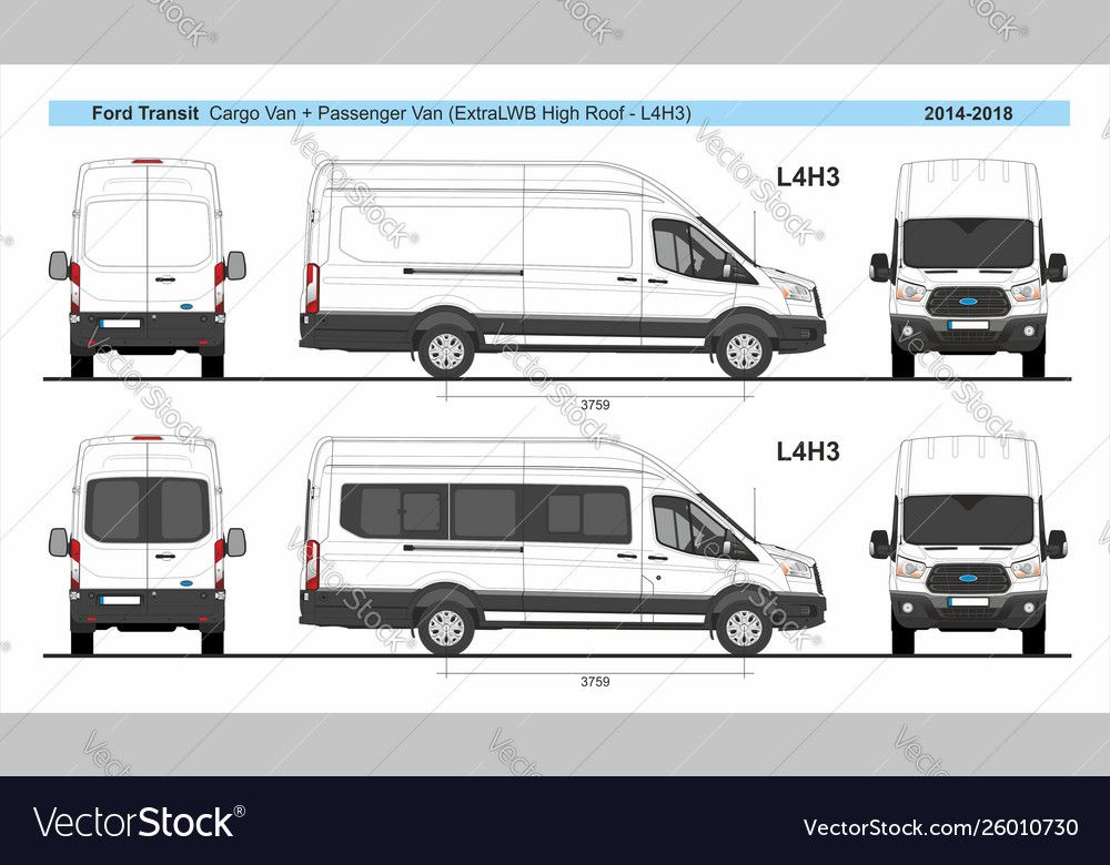Ford Transit Cargo And Passenger L4h3 2014 Present Vector Image On Vectorstock Ford Transit Lifted Ford Trucks Camper Van Conversion Diy