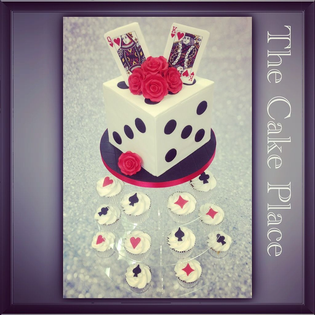 Dice wedding cake , Vegas style wedding cake and cupcakes , edible cards in top with roses