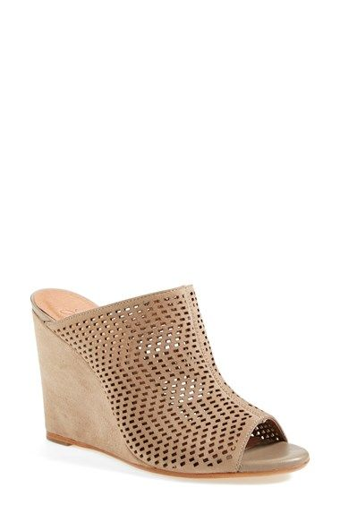 """Free shipping and returns on Joie 'Kellie' Open Toe Mule (Women) at Nordstrom.com. <p><B STYLE=""""COLOR:#990000"""">Pre-order this style today! Add to Shopping Bag to view approximate ship date. You'll be charged only when your item ships.</b></p><br>Geometric perforations lend an airy look to this open-toe mule, made modern with a wrapped wedge."""