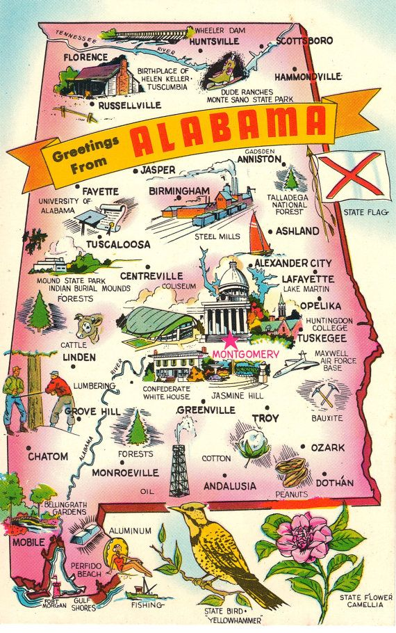 This vintage postcard has a state map of Alabama with major ...