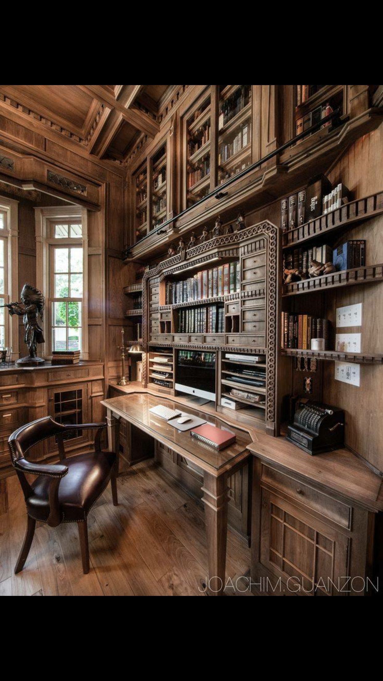 Custom Made Desk Corner In A Custom Made Library By