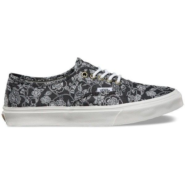 Vans Chambray Retro Floral Authentic Slim ($60) ❤ liked on Polyvore  featuring shoes,