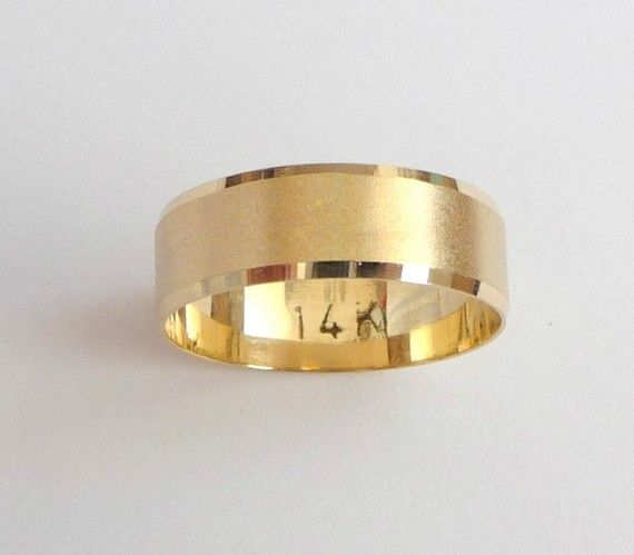 gold wedding band women and men wedding ring with sandblast finish shiny stripes 5mm wide - Gold Wedding Rings For Women