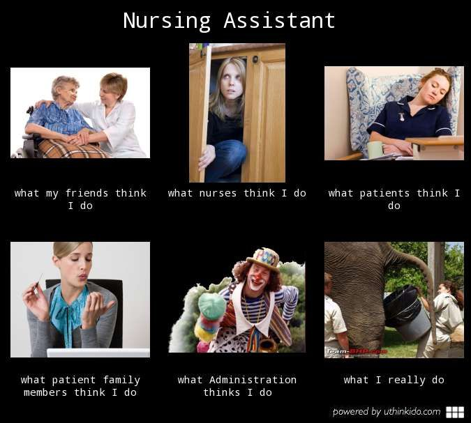 nursing assistant  what people think i do  what i really