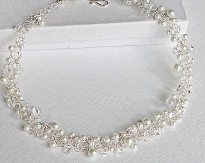 Weiße Spitzen Perlenkette Perlen Collier Braut Halskette Halsband