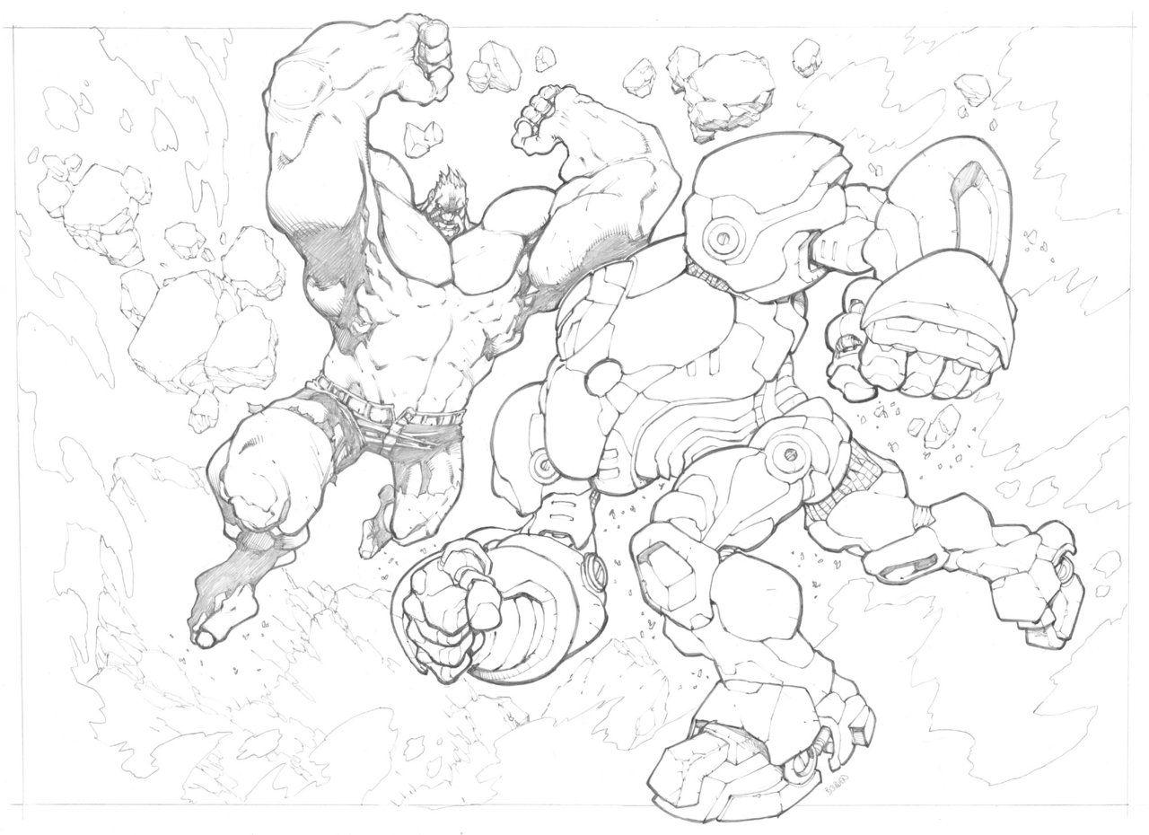 Thor Vs Hulk  Inks over Mike Bowden by lebeau37deviantartcom