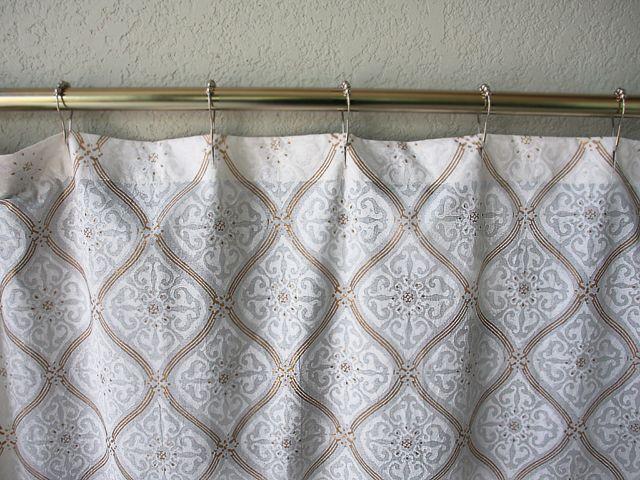 Elegant Shower Curtain vanilla glacé ~ white gold romantic elegant shower curtain details