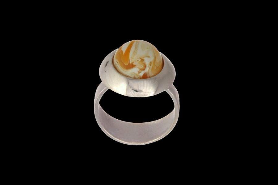 White Amber Ring made from mix royal amber and white precious metals