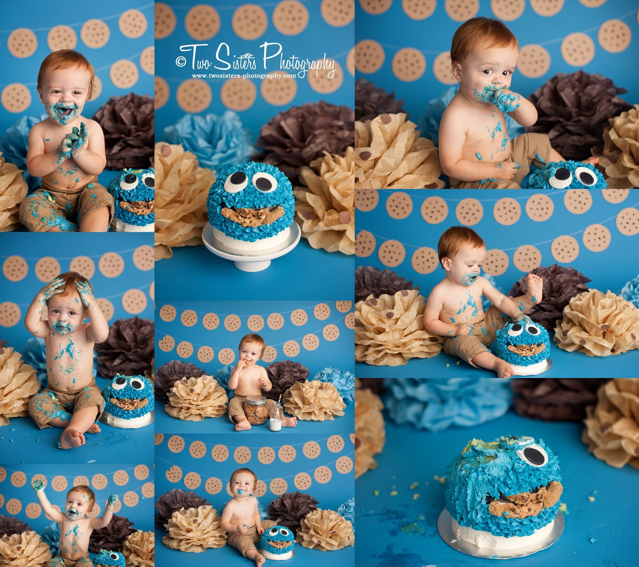 Cookie monster cake smash session first birthday cake smash