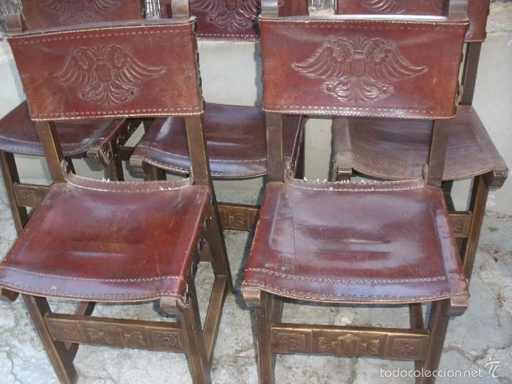 Antiguas sillas de madera y cuero repujado con escudo de aguila bic fala antiques pinterest - Sillas de madera antiguas ...