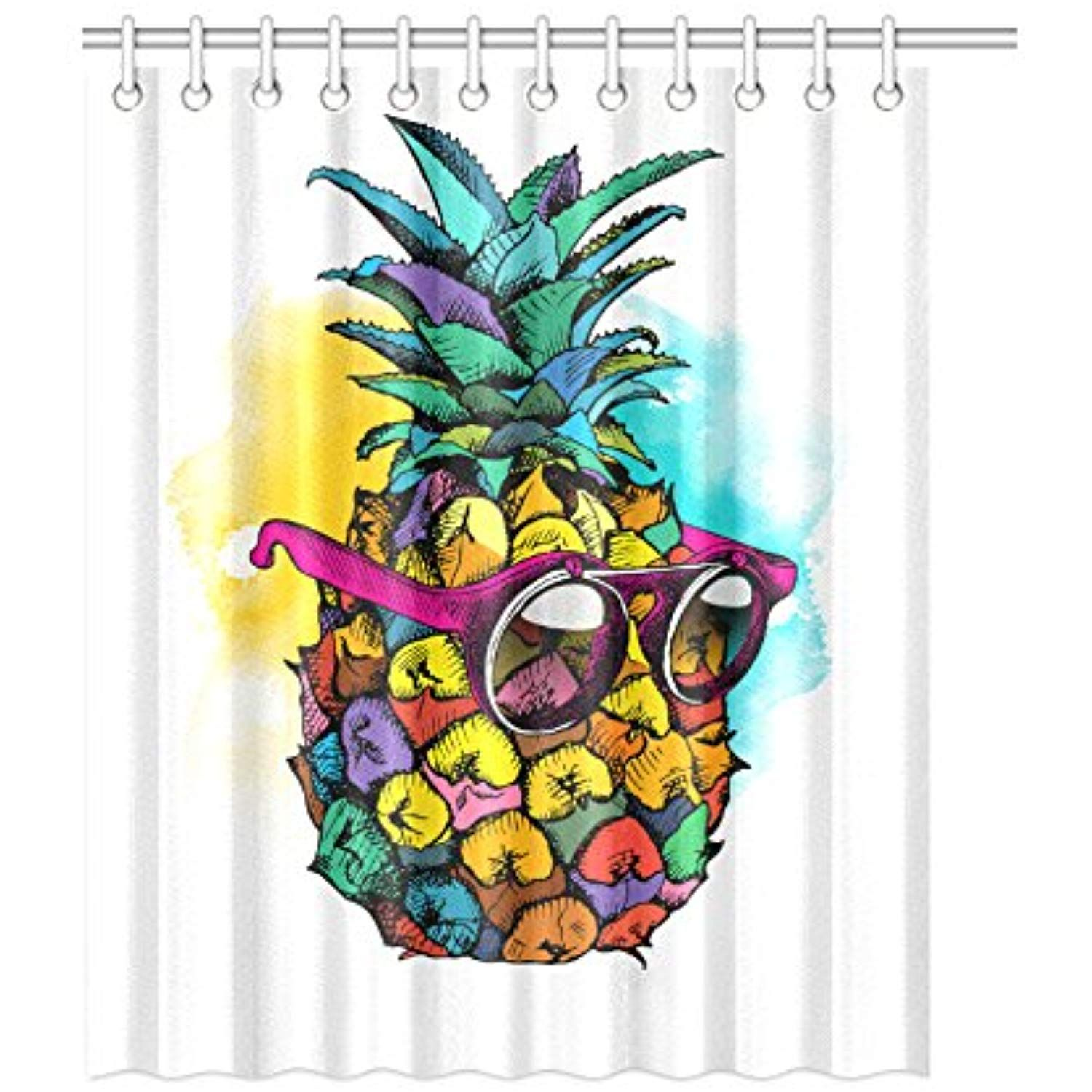 Cartoon Cool Pineapple With Sunglasses Funny Shower Curtain Waterproof Polyester Peva For Bathroom Stylish Decor 60 72 Click On The