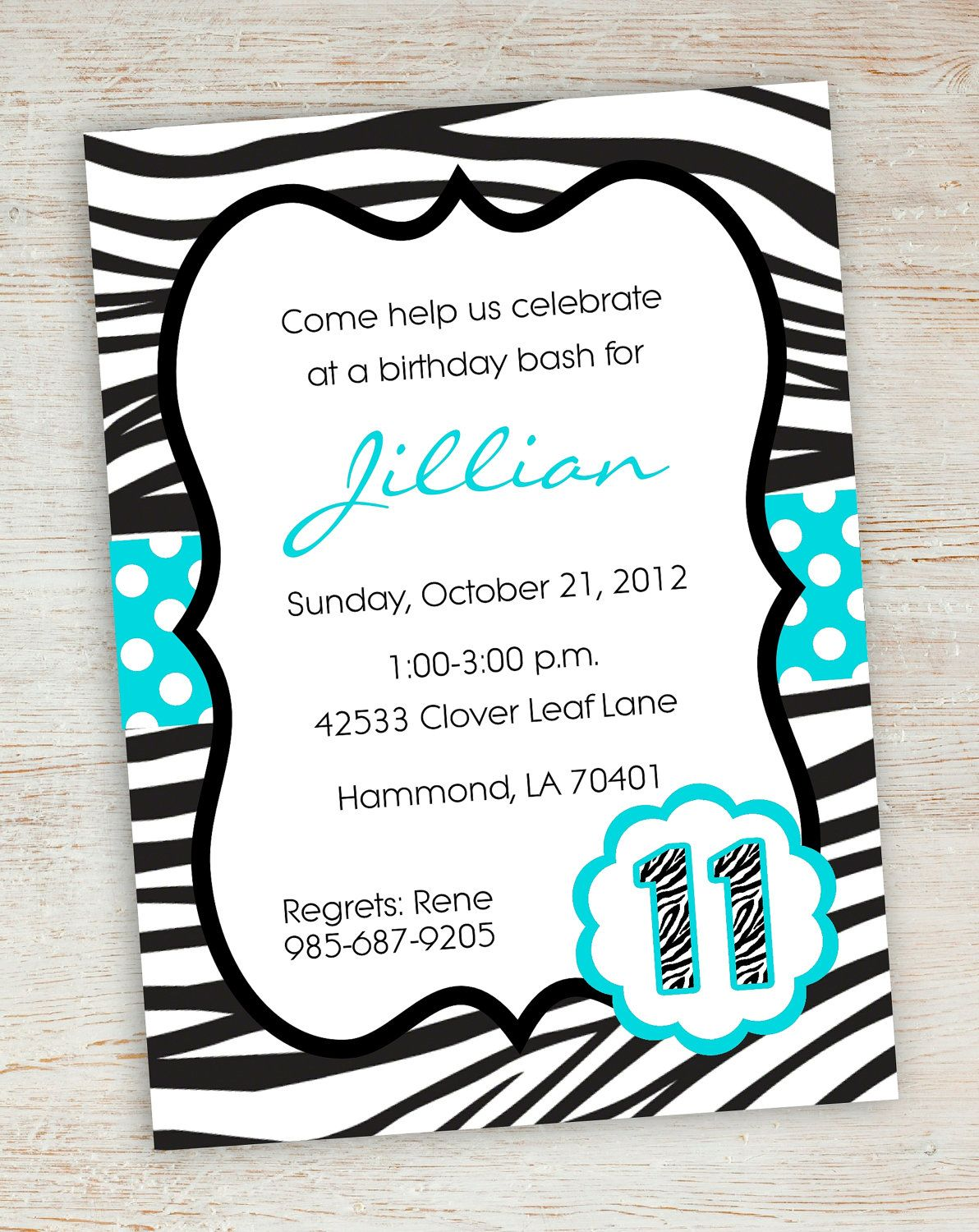 free printable zebra party invitations | printable pink turquoise, Birthday invitations