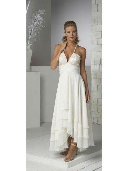 A Line Halter Empire Waist Pleated Tea Length Chiffon Ivory Simple Wedding Dresses Informal Wedding Dresses Wedding Dress Chiffon Wedding Dress Styles