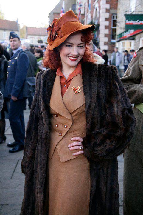 Lola Lamour's Wonderful Wardrobe! modern vintage wearer tan brown suit rust hat blouse jacket skirt 40s style vintage fashion