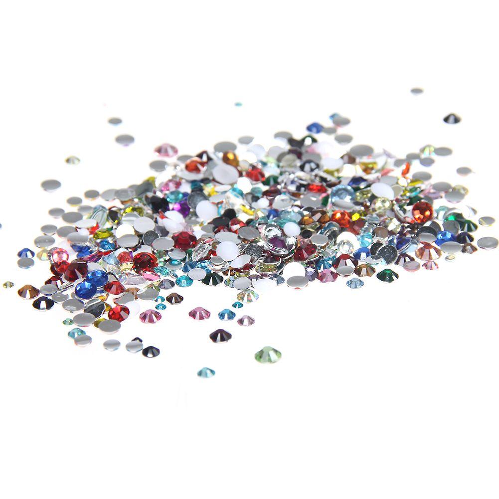 1000 unids 2-5mm Y Tamaños Mezclados Colores mezclados Resina Hotfix Rhinestones Para Uñas Glitter Belleza 3D Nail Art Diseño Decoraciones