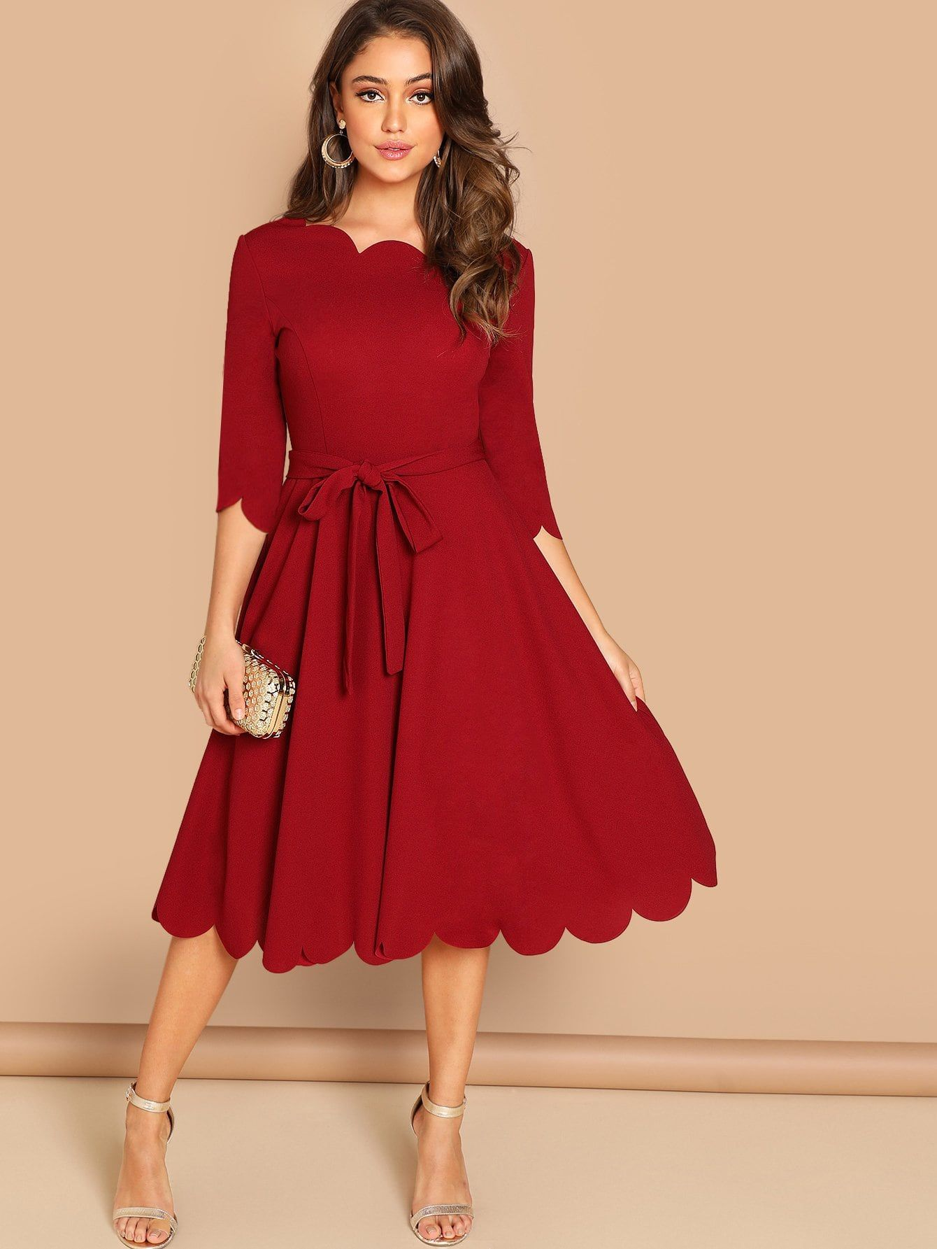 9ef53c1166 Women Elegant A Line Plain Fit and Flare Round Neck Three Quarter Length  Sleeve Regular Sleeve Natural Burgundy Midi Length Scallop Trim Fit & Flare  Dress ...