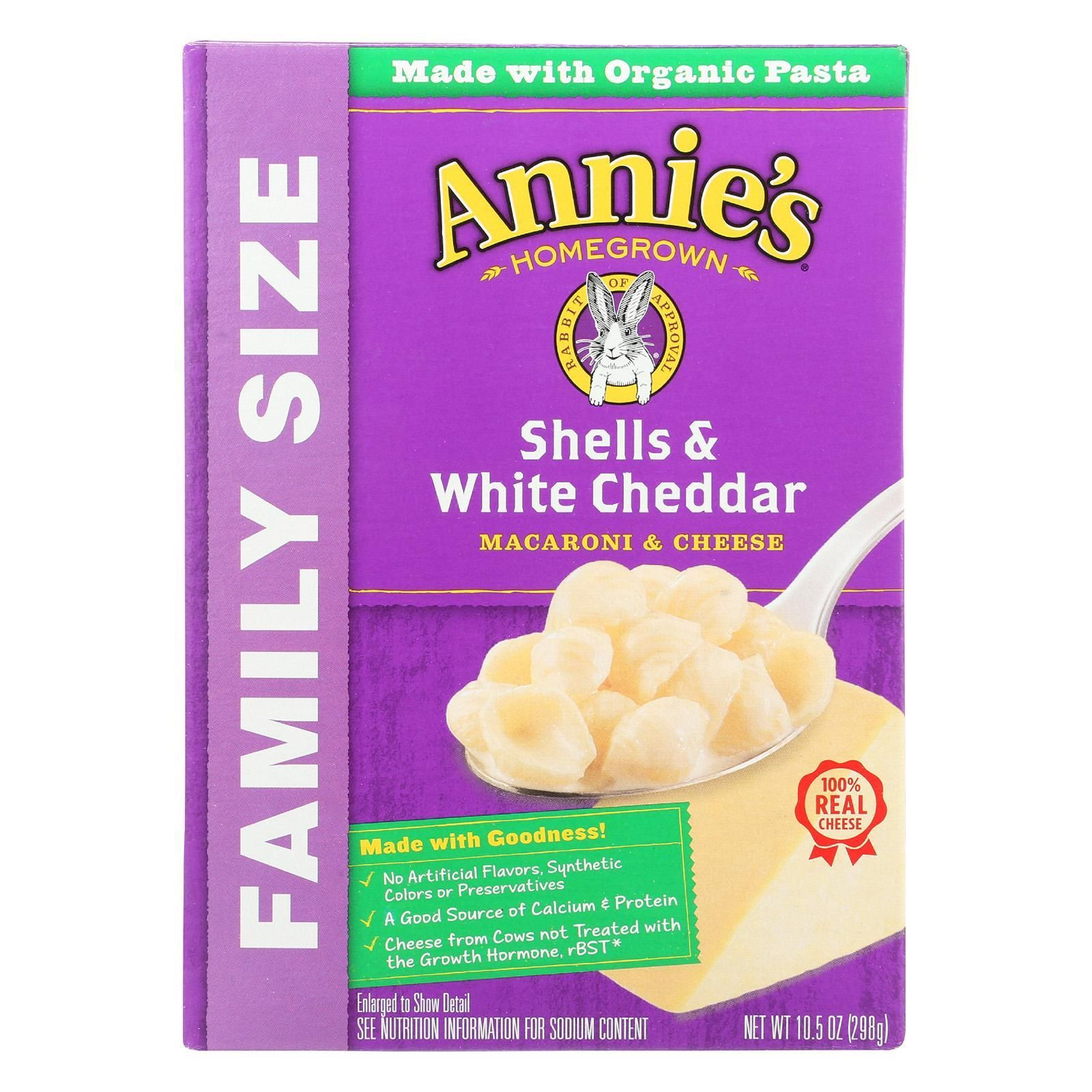 Annies homegrown family size shells and white cheddar mac