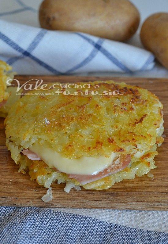 Rosti di patate con prosciutto e formaggio ricetta facile for Cucina facile ricette