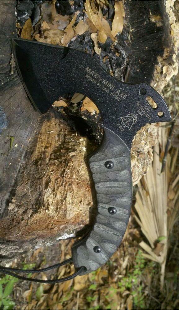 Tops Knives MAX01 Max the Mini Axe with Black Linen Micarta Handles & Kydex Sheath