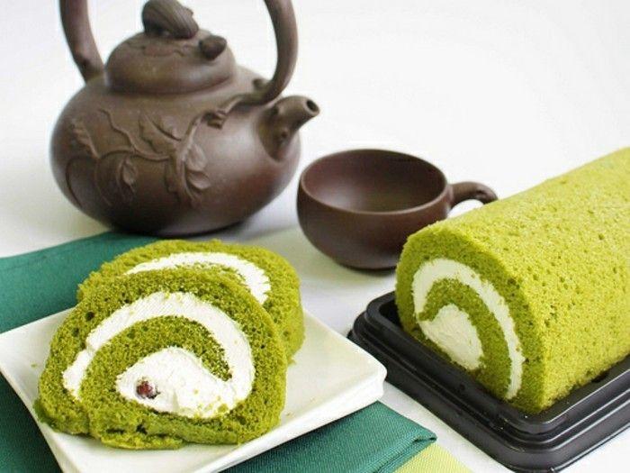 matcha pulver rezepte rollkuchen mit matcha und viel sahne kalorienreich aber nicht schlecht kombination mit tee