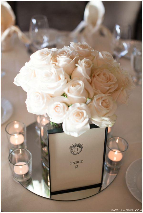 Timeless White Rose Centerpiece Simple Yet Elegant