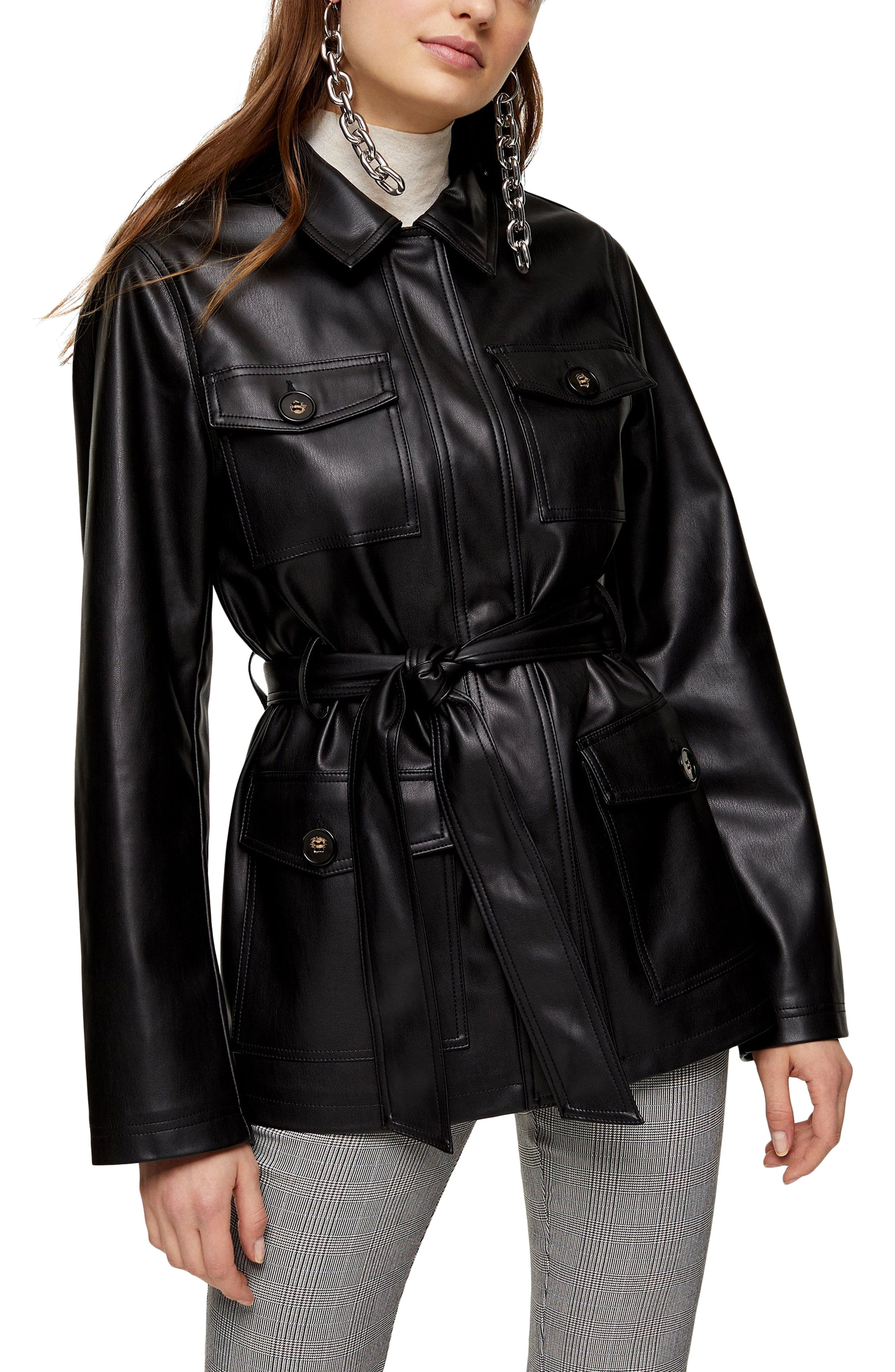 Topshop Belted Faux Leather Jacket Nordstrom Fashion Clothes Women Fashion Leather Jacket [ 4048 x 2640 Pixel ]