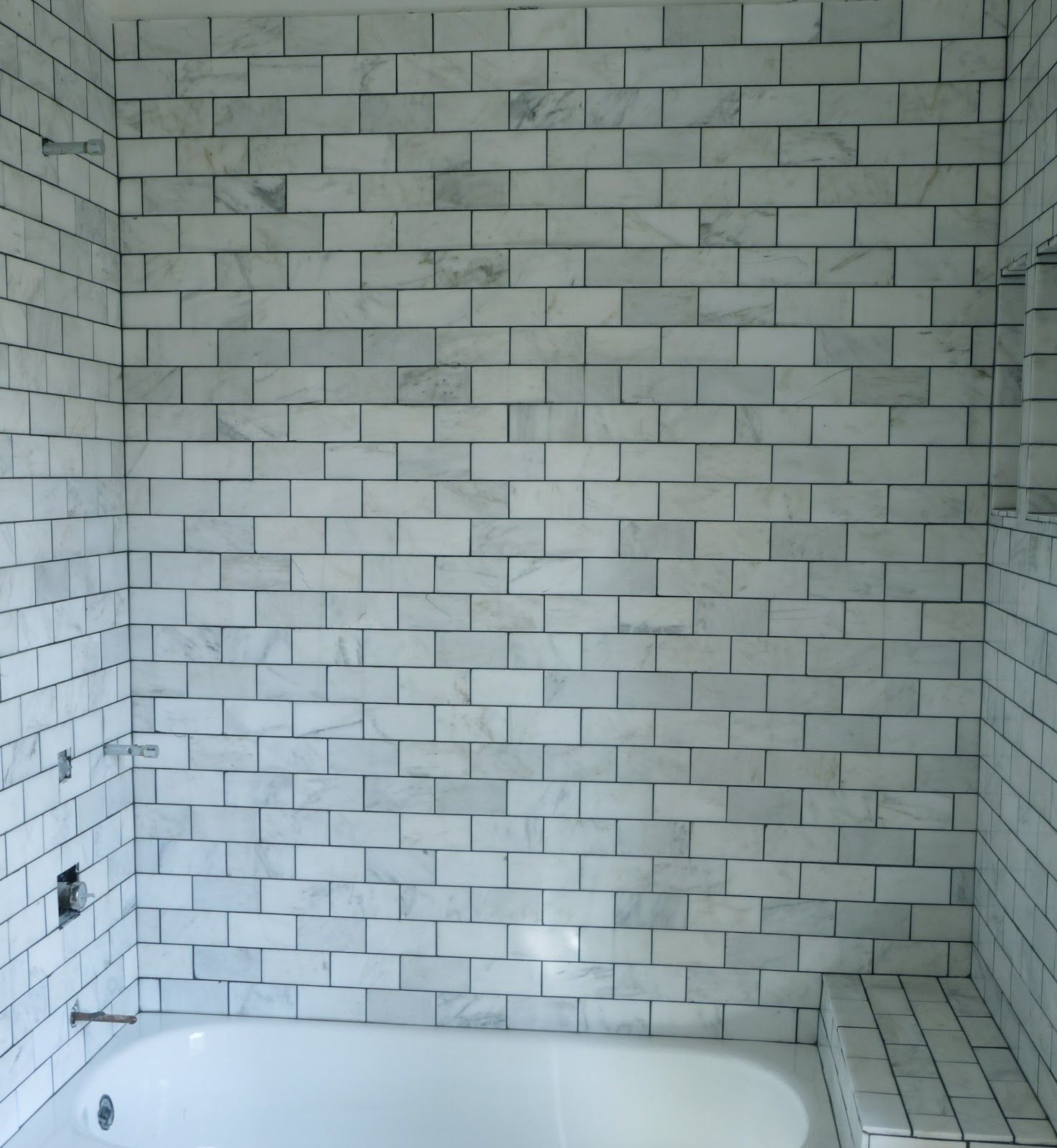Marble tile black grout bungalow home black white - White subway tile with black grout bathroom ...