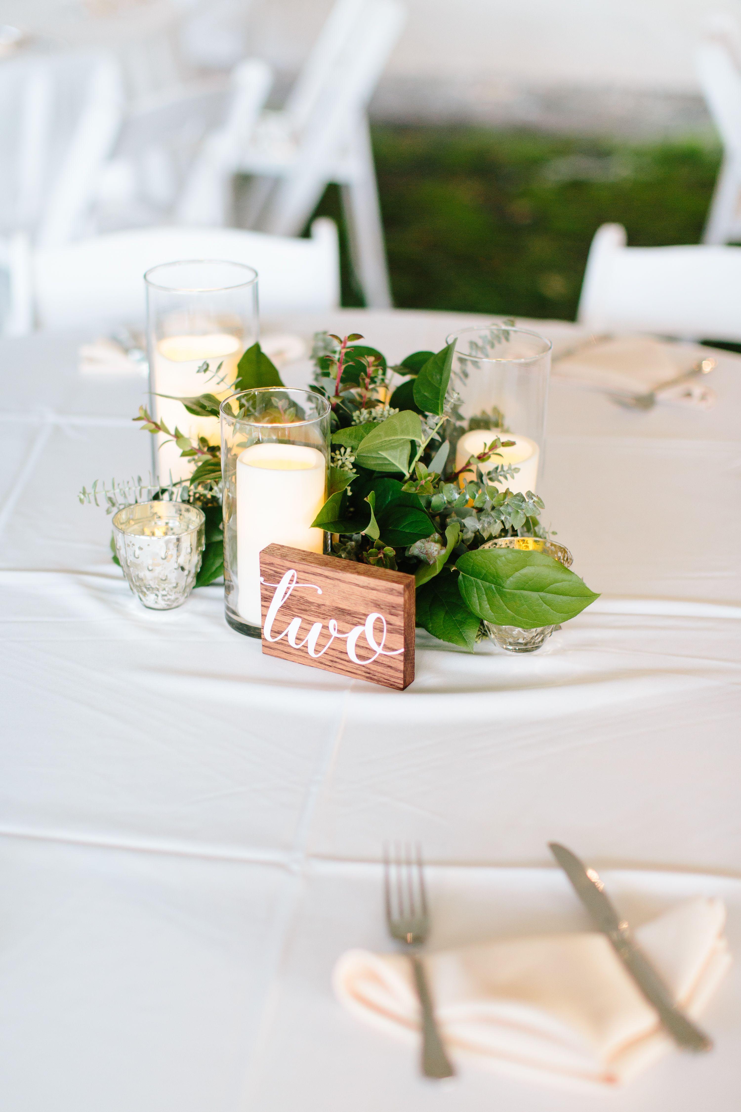 Eucalyptus Wedding Centerpiece. Wood Table Numbers. Reception Dinner ...
