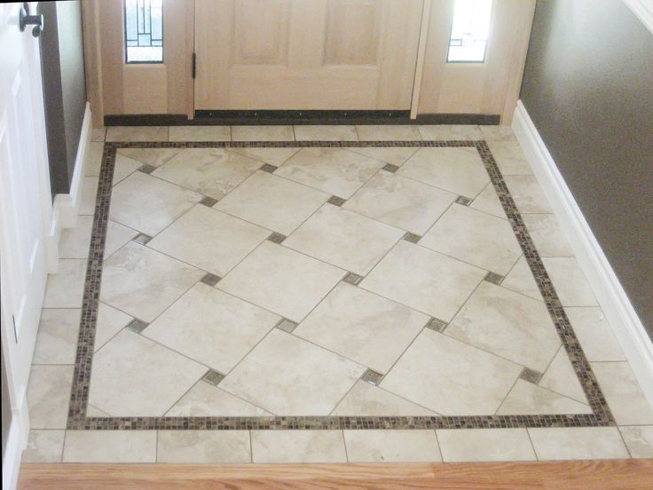 Center Portion Only A Nice Idea For A Diamond Pattern Layout Where A Large Square And A Small Accent Entryway Flooring Foyer Flooring Patterned Floor Tiles