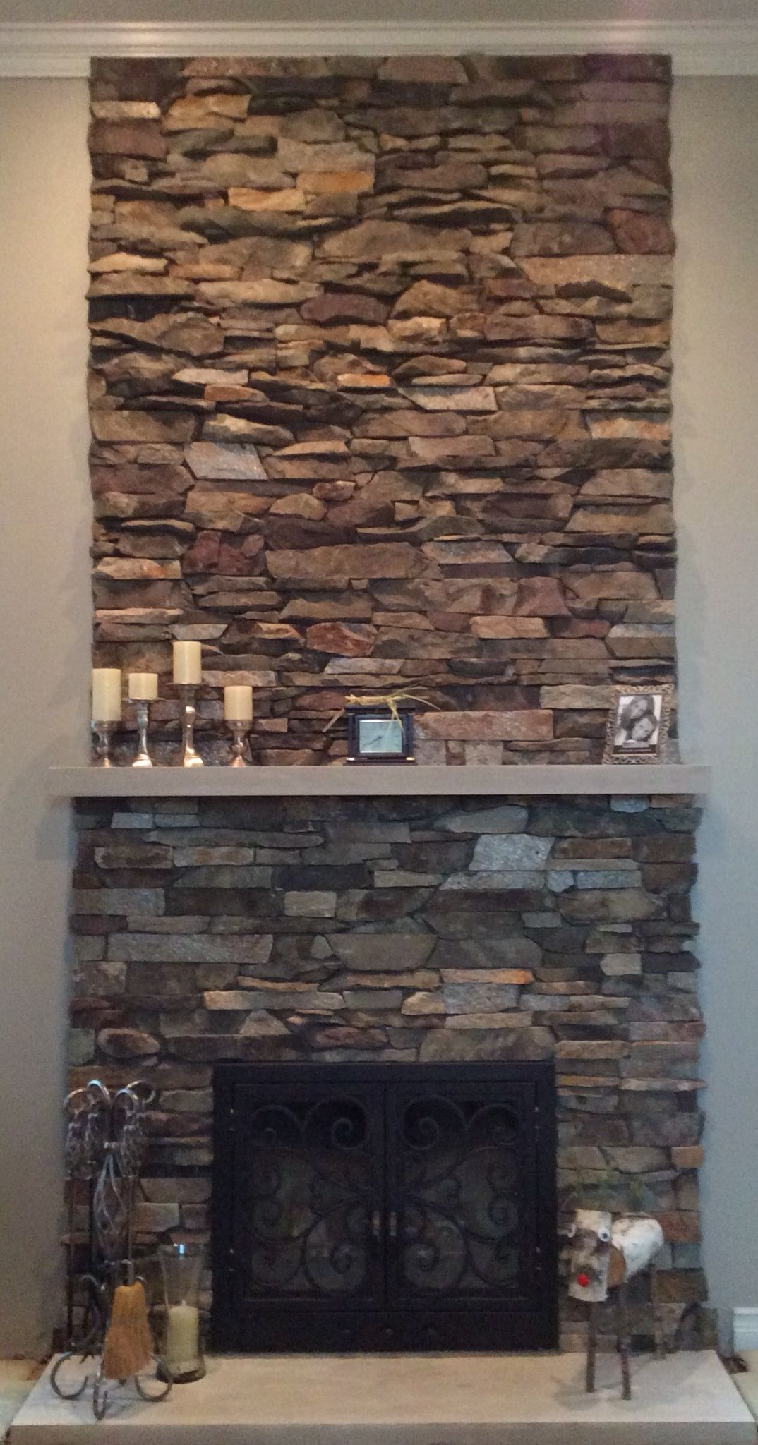 Mixed Stone Ledge Stone Wall By Old Country Stone Wrought Iron