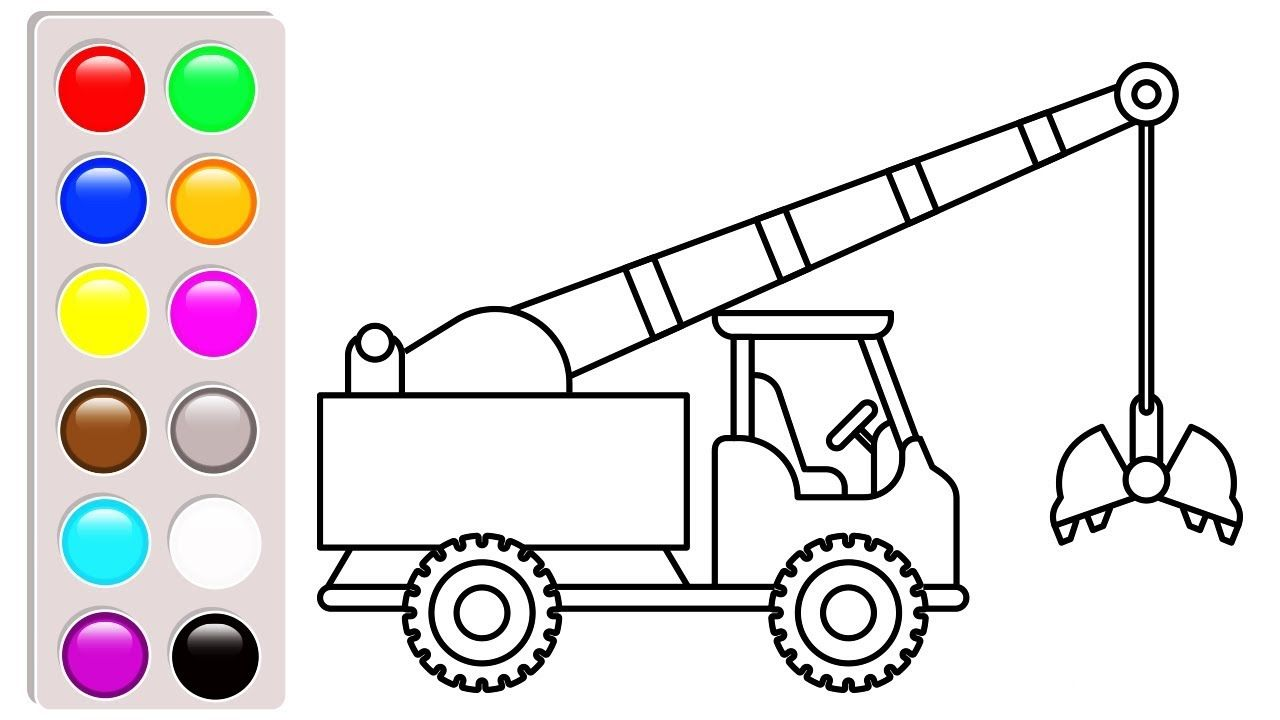 Colors Construction Truck Crane Truck Coloring Pages For Kids