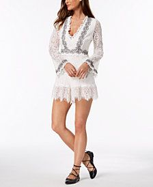 32529860c37a85 foxiedox Bell-Sleeve Embroidered Lace Romper | Trending Women ...