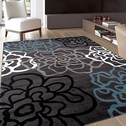 Floral Area Rug Contemporary Modern Flowers Rugs 5x7 3 Gray Grey White Blue New Rugshop Cool Rugs Modern Floral World Rug Gallery