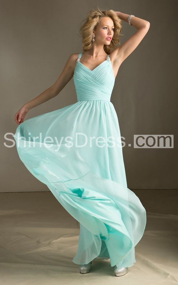 Ethereal Strap-brooched and Top-ruched A-line Chiffon Long Dress