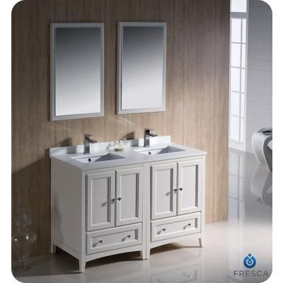 Fresca   Oxford 48 Inch Antique White Traditional Double Sink Bathroom  Vanity   FVN20 2424AW