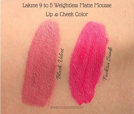 Lakme 9 To 5 Weightless Matte Mousse Lip Cheek Colors All Shade