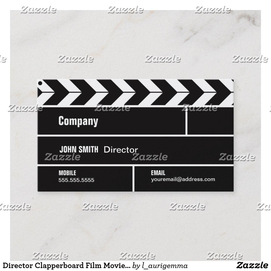 Director Clapperboard Film Movie Business Card Zazzle Com Movie Business Photography Business Cards Film Movie