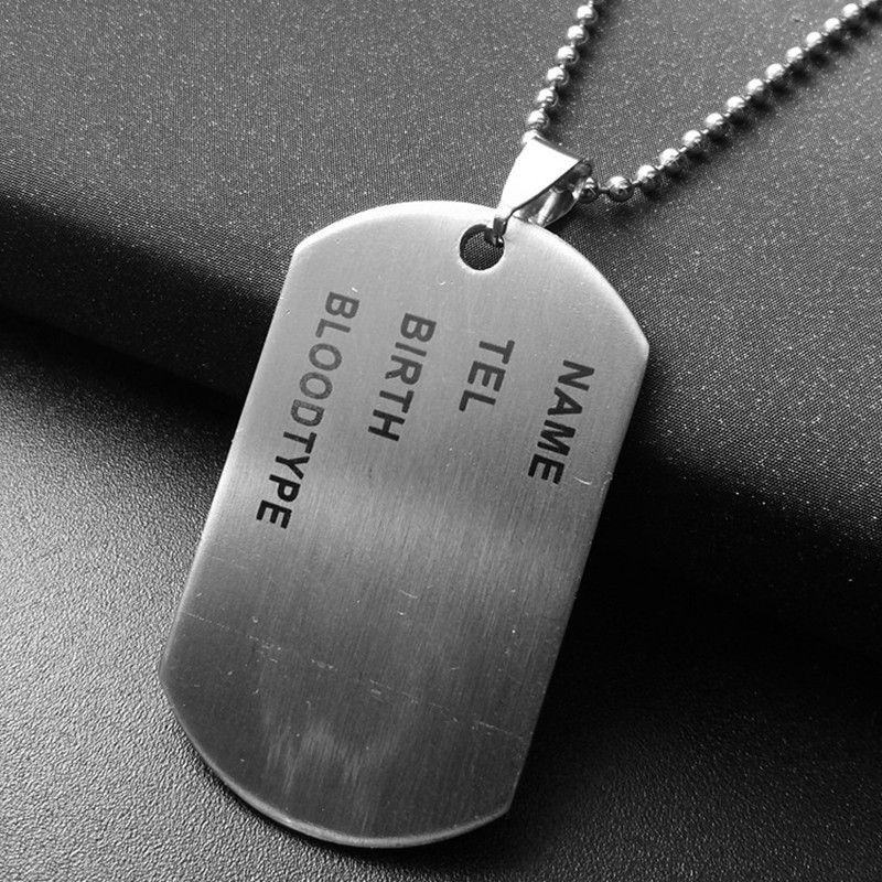 Dog Tags Mens Ladies Army Soldier Metal Necklace Fancy Dress Costume Accessory
