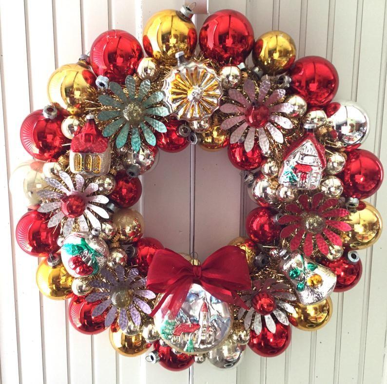 Blumen & Türme Vintage Weihnachten Ornament Kranz Etsy